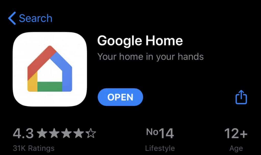google home in app store