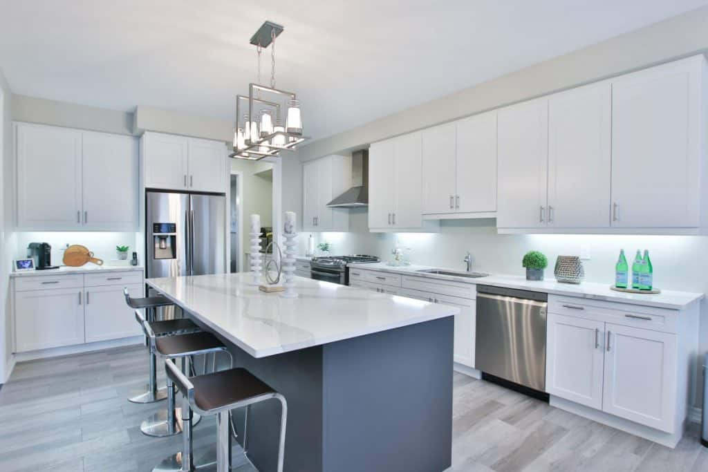 white bright light kitchen
