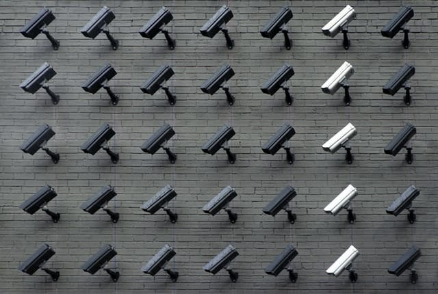 an art installation made of security cameras
